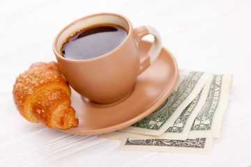 Coffee cup with dollar bills