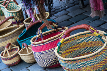Traditional colorful wicker baskets