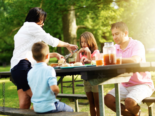 family of four eating at barbecue cookout - 70025362