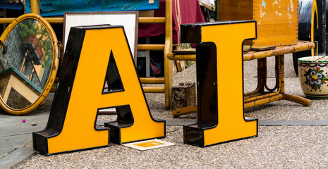 Big yellow letters at antique market