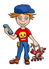Schoolboy roller skating and gadget in his hands. Illustration.