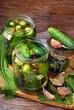 freshly made pickled cucumbers in jars
