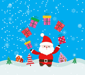 Merry christmas background with santa claus and gift