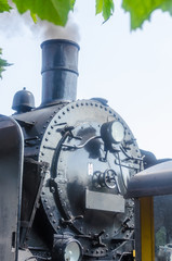 Front view of a steam locomotive