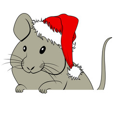 Christmas mouse with Santa hat and whiteboard