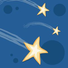 Falling star in the night sky