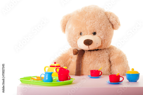 canvas print picture teddy mit puppengeschirr
