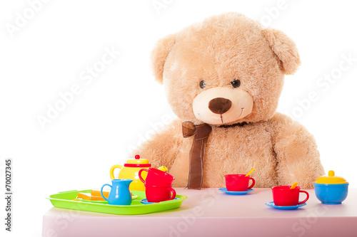 canvas print picture teddy mit puppengeschirr