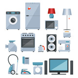 Colored icons of home appliances poster