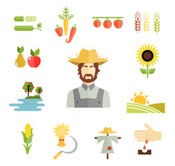 Farm icons for cultivating crops
