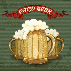 Retro style poster for Cold Beer