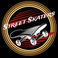 Skateboard in circle logo design