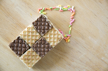 chocolate wafers point up
