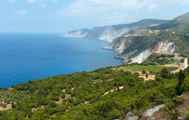 Summer Ionian sea coast  view (Kefalonia, Greece)