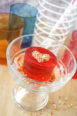 red jelly with colorful cup