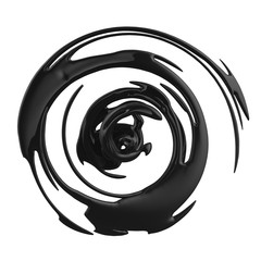 3d black abstract distorted splash isolated on white