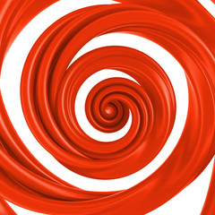 3d abstract liquid red spiral candy cane isolated on white