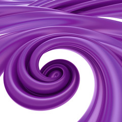 3d abstract liquid purple spiral candy cane splash
