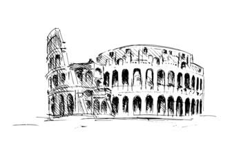 Sketch of the Roman Colosseum. Vector illustration