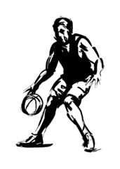 Sketch dribbler basketball. Vector illustration
