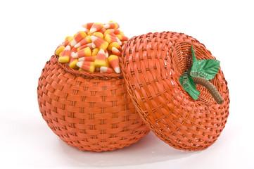 Orange Pumpkin Basket Full Of Candy Corn