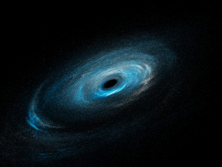 Spiral galaxy with stars and black hole