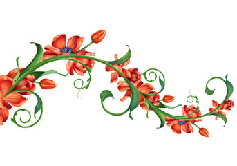 branch with red flowers illustration isolated on white