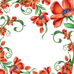 red flowers illustration, festive floral background