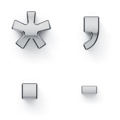Metallic alphabet punctuation letter symbols