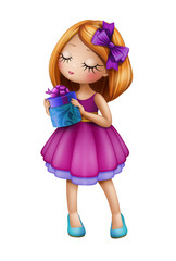 cute baby doll, girl holding gift box, illustration on white