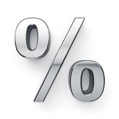 Metalic percent sign symbol - %