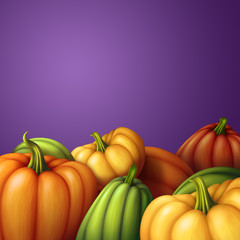 autumn pumpkins background, seasonal harvest illustration