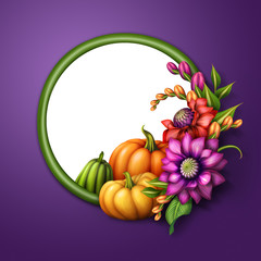 autumn flowers and pumpkins, round floral banner