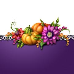 autumn pumpkins and flowers, festive background illustration