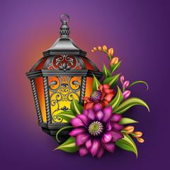 lantern with autumn flowers, seasonal greetings illustration