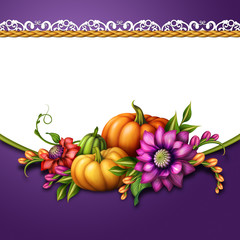 decoration with pumpkins and flowers, festive background