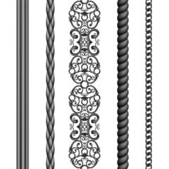 black iron seamless borders set, illustration isolated
