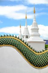 White stupas in Thai temple