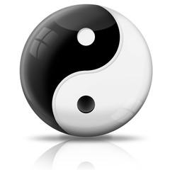 Kugel Yin und Yang freigestellt