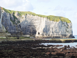 stone beach and cliff on english channel