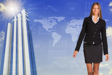 Beautiful businesswoman standing on business background
