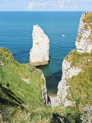 view english channel beach of Etretat cote d'albatre, France