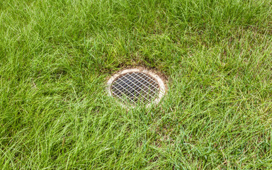The steel floor drain, running water from the meadow