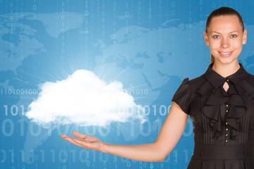 Beautiful businesswoman in dress holding cloud