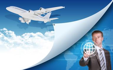 Airplane and businessman finger presses virtual globe