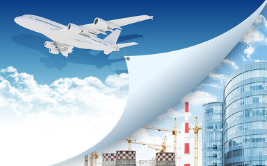 Airplane and industrial zone with buildings