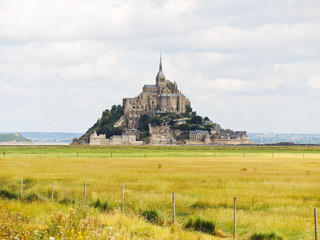 rural view with mont saint-michel abbey