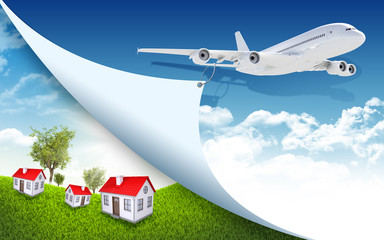 Airplane and landscape with houses