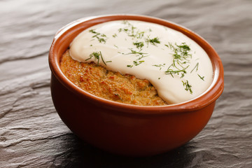 roasted potatoes with sour cream