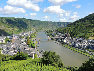 Moselle river and Cochem town in Germany